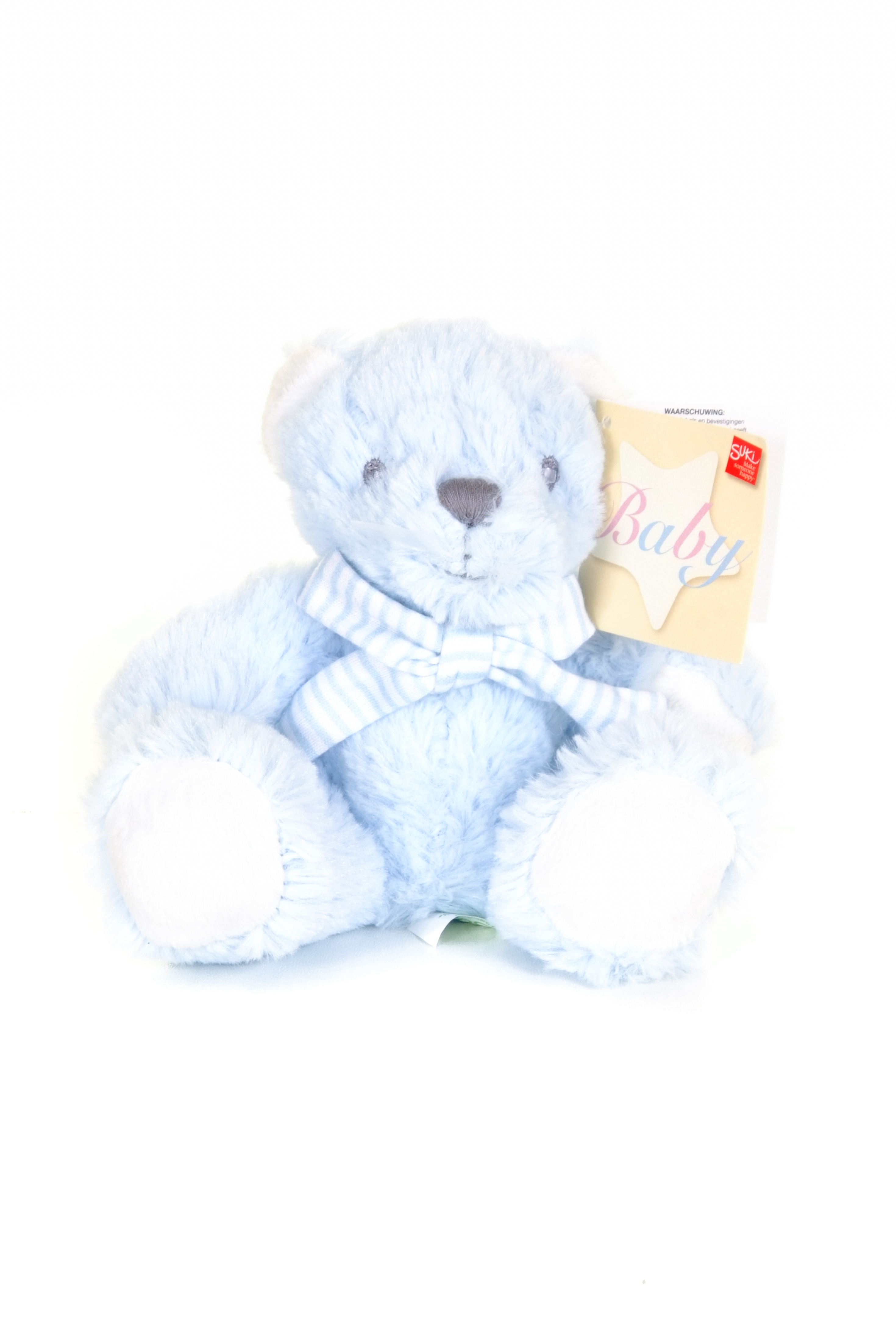 baby boy blue teddy bear with white paws