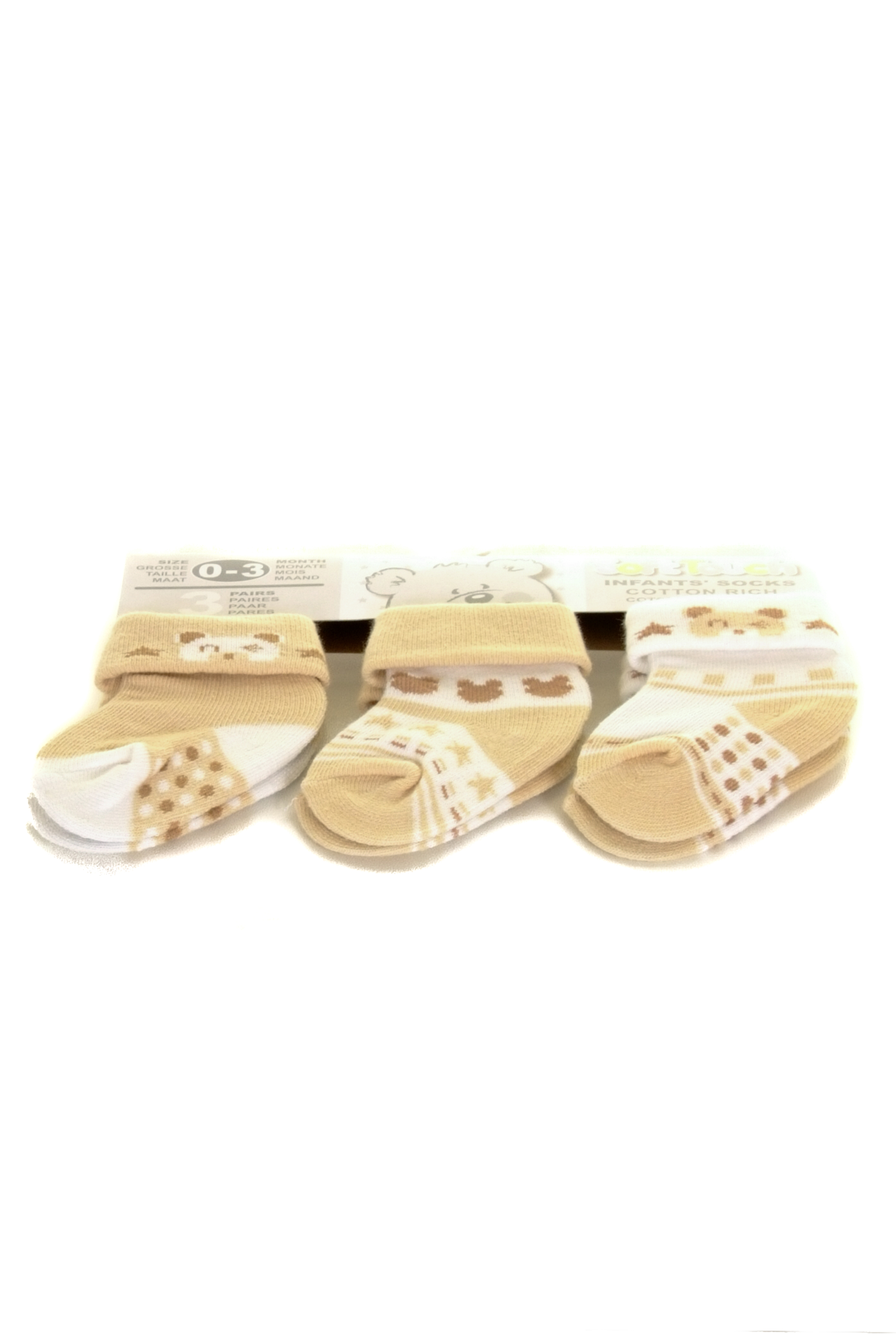 beige and white baby socks UK