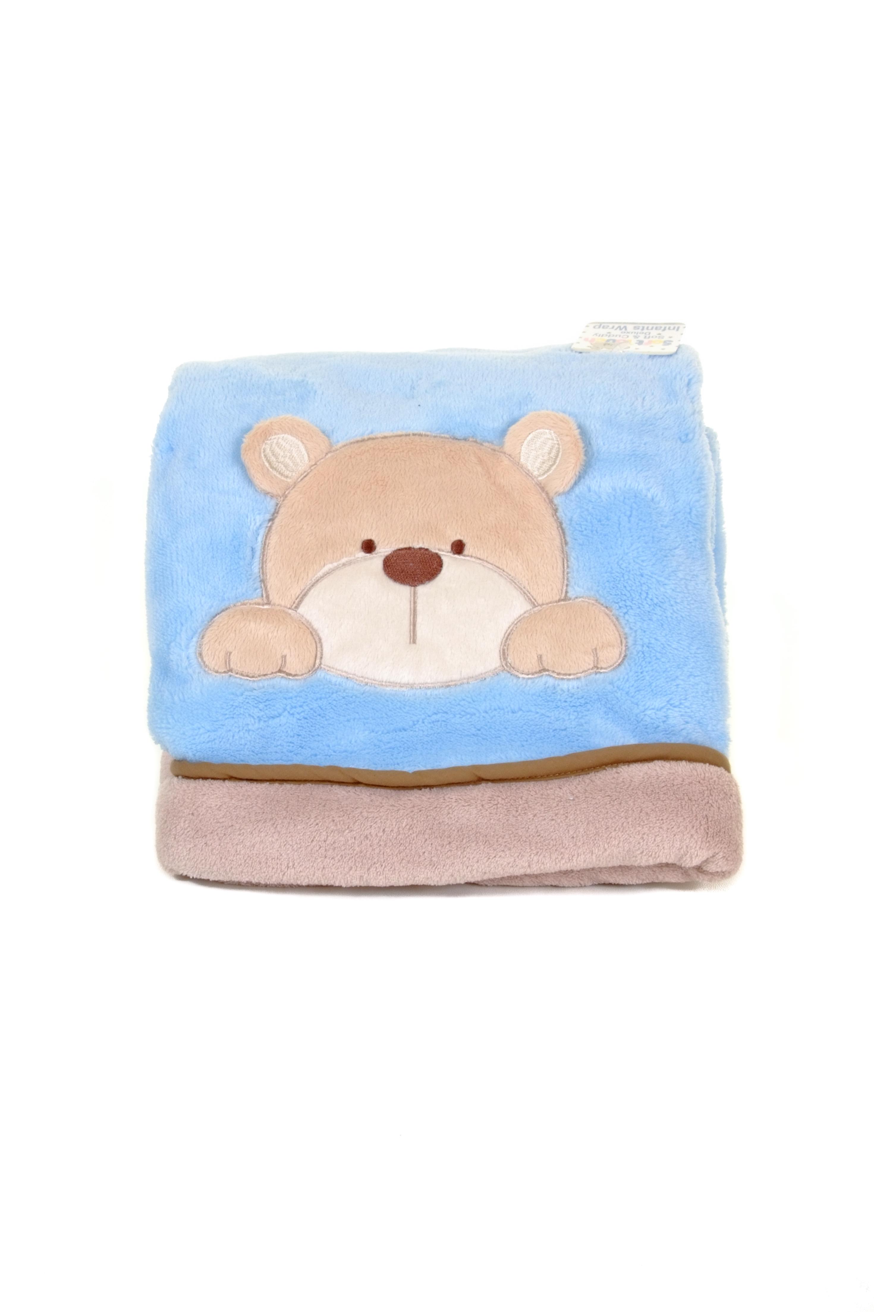 blue teddy bear crinkle baby blanket