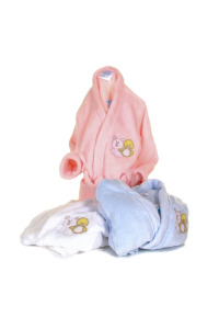 Baby dressing gowns in pink, blue and white
